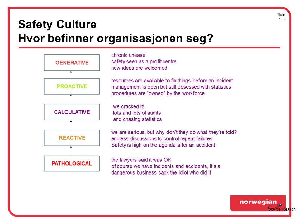 Safety Culture Hvor befinner organisasjonen seg