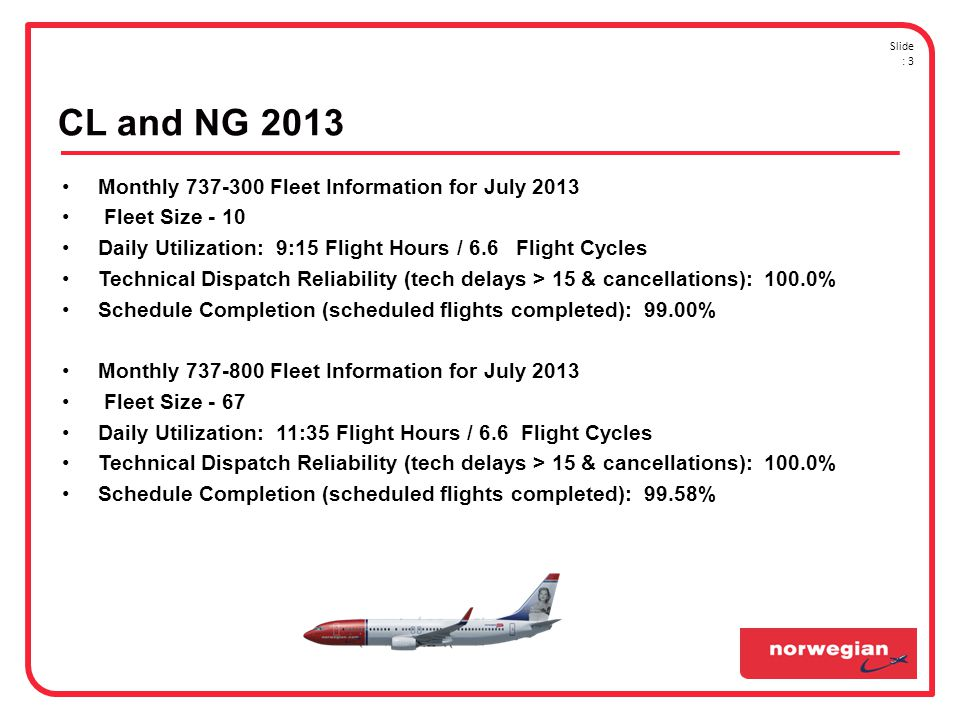 CL and NG 2013 Monthly Fleet Information for July 2013