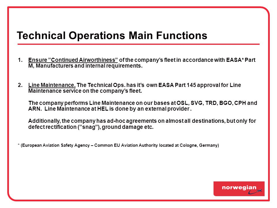 Technical Operations Main Functions