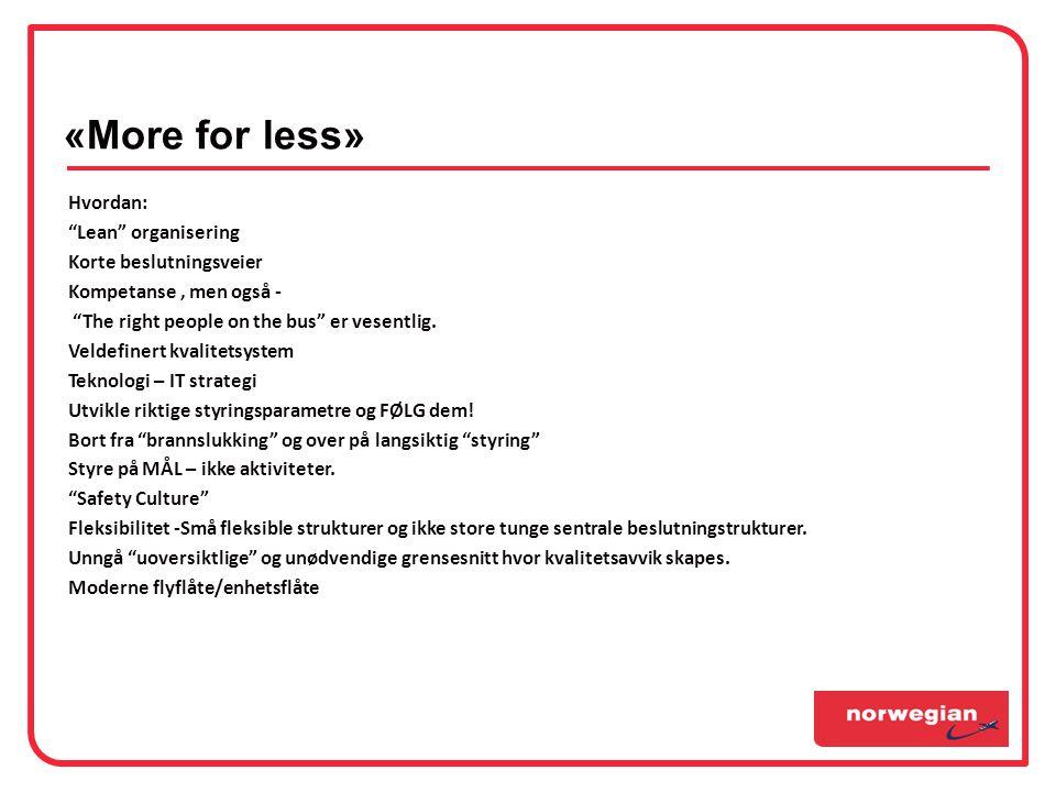 «More for less» Hvordan: Lean organisering Korte beslutningsveier