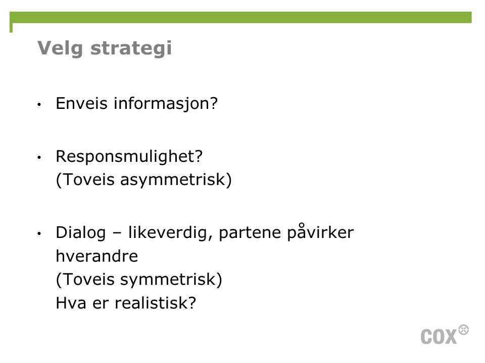 Velg strategi Enveis informasjon