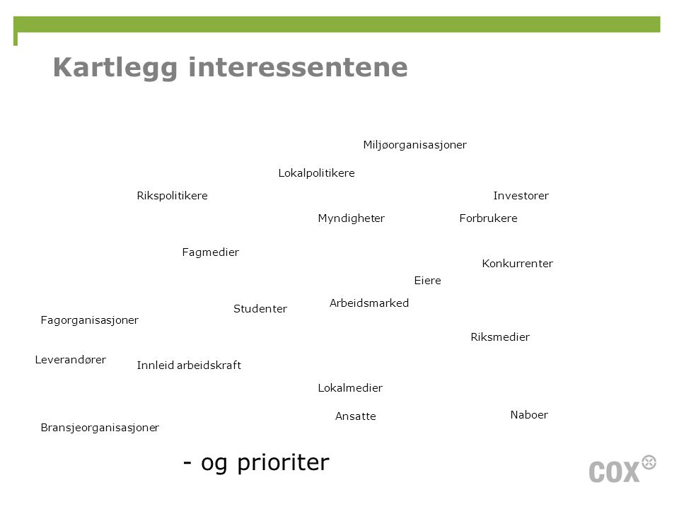 Kartlegg interessentene