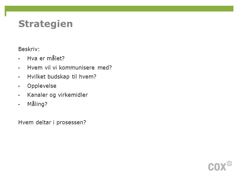 Strategien Beskriv: Hva er målet Hvem vil vi kommunisere med