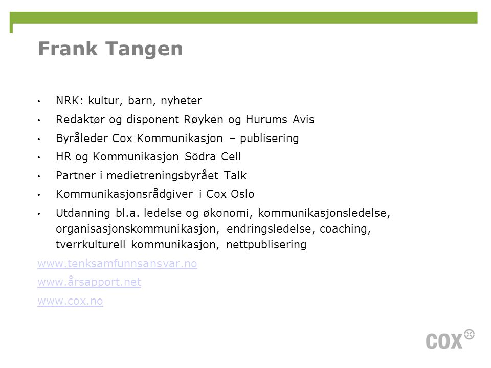 Frank Tangen NRK: kultur, barn, nyheter