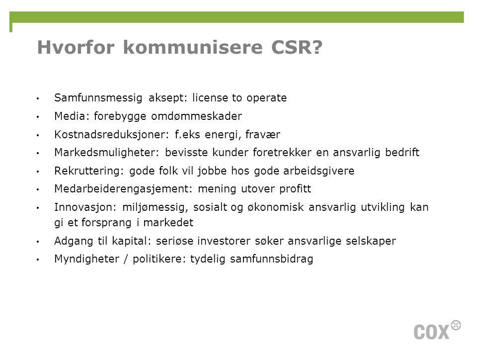 Hvorfor kommunisere CSR