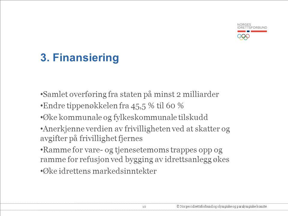 3. Finansiering Samlet overføring fra staten på minst 2 milliarder