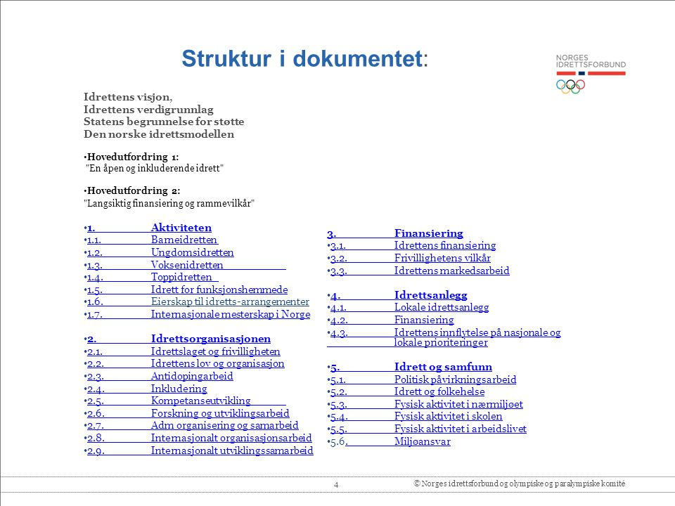 Struktur i dokumentet: