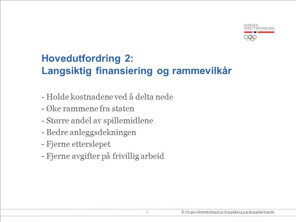 Hovedutfordring 2: Langsiktig finansiering og rammevilkår