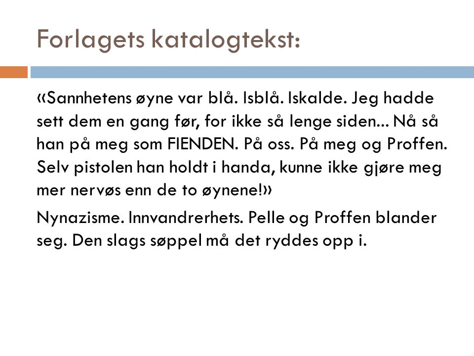 Forlagets katalogtekst: