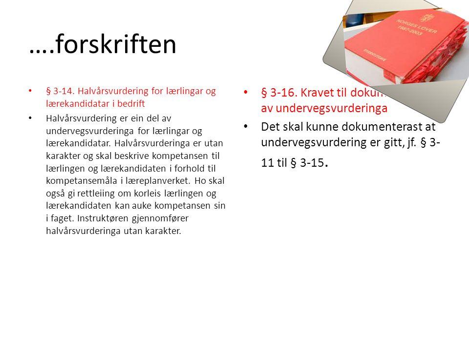 ….forskriften § 3-16. Kravet til dokumentering av undervegsvurderinga