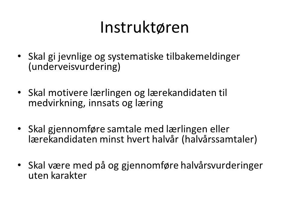 Instruktøren Skal gi jevnlige og systematiske tilbakemeldinger (underveisvurdering)
