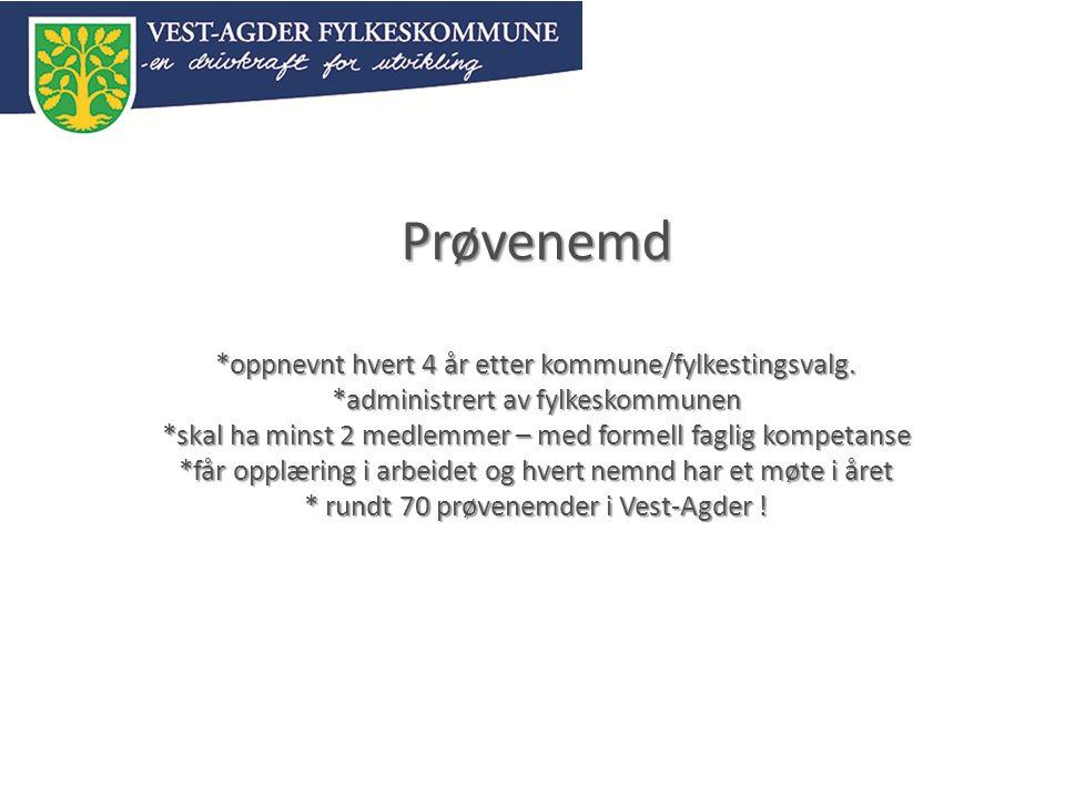 Prøvenemd. oppnevnt hvert 4 år etter kommune/fylkestingsvalg