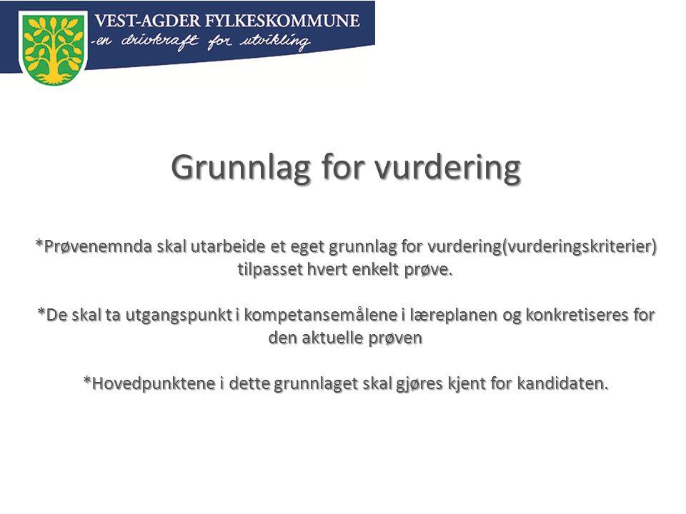 Grunnlag for vurdering