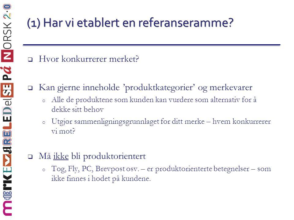 (1) Har vi etablert en referanseramme