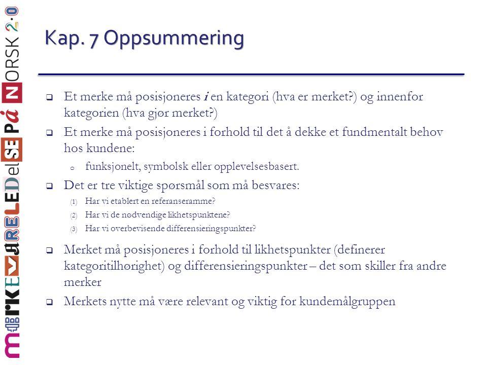 Kap. 7 Oppsummering Et merke må posisjoneres i en kategori (hva er merket ) og innenfor kategorien (hva gjør merket )