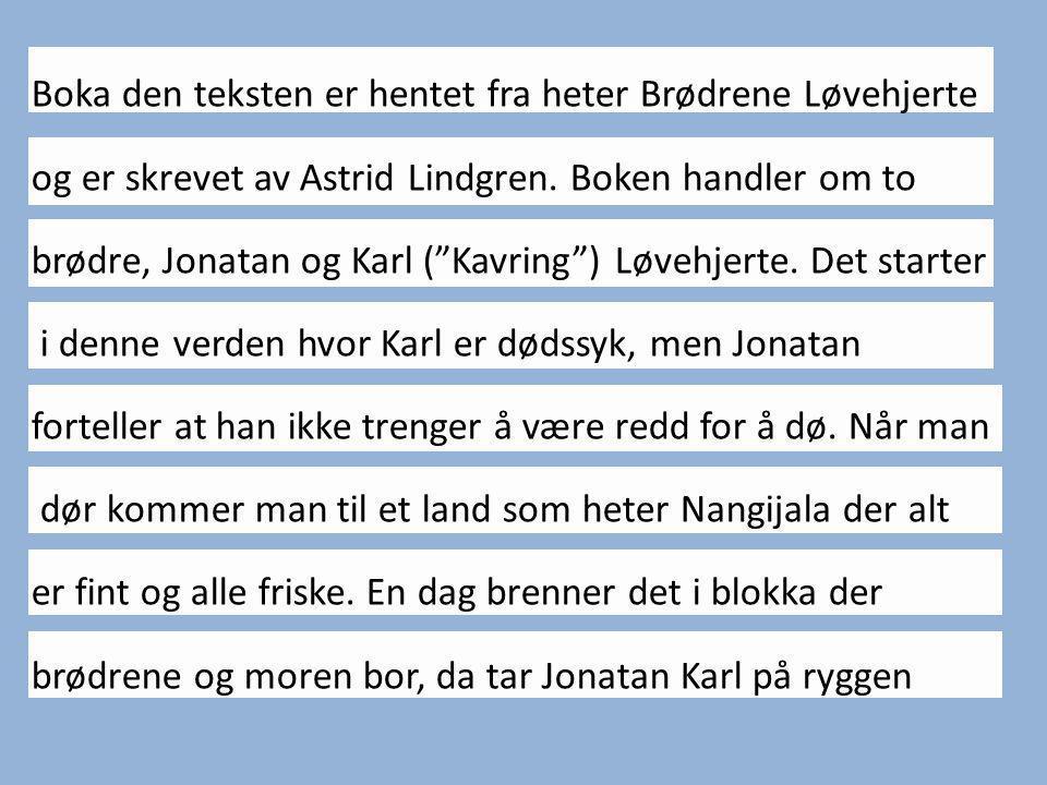Boka den teksten er hentet fra heter Brødrene Løvehjerte og er skrevet av Astrid Lindgren.
