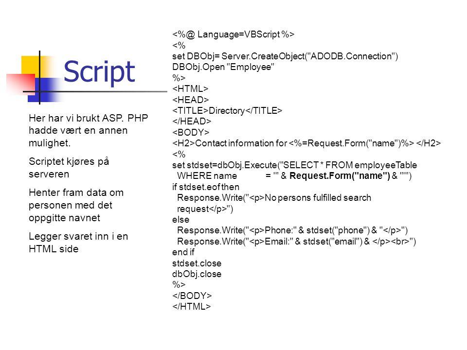 Script Her har vi brukt ASP. PHP hadde vært en annen mulighet.