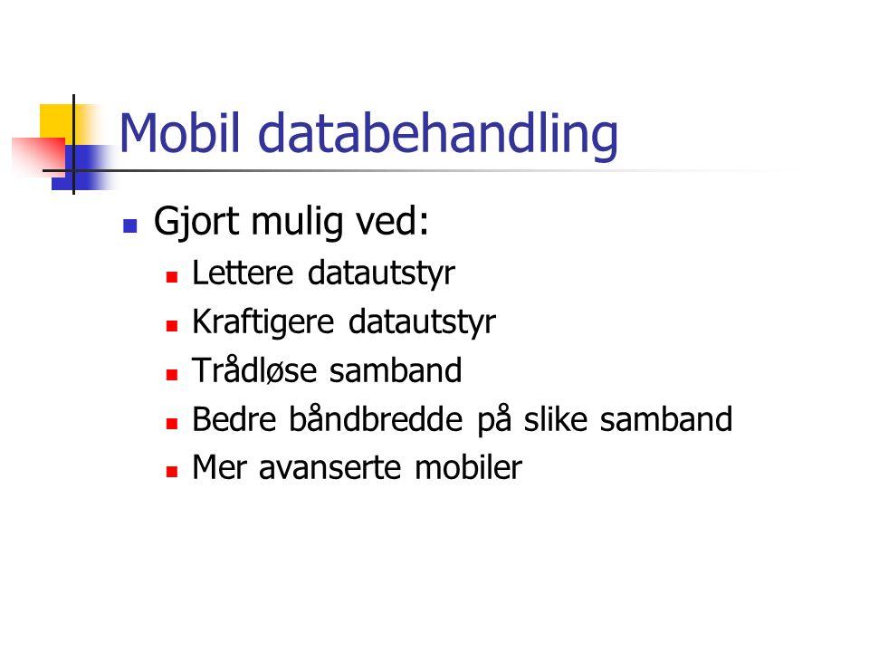 Mobil databehandling Gjort mulig ved: Lettere datautstyr