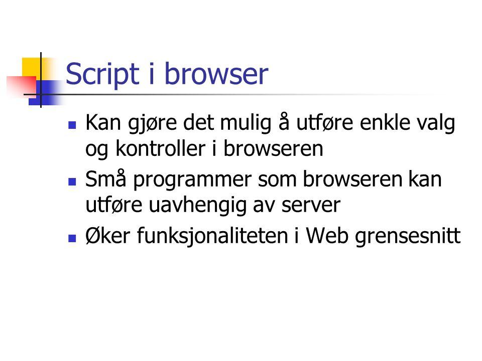 Script i browser Kan gjøre det mulig å utføre enkle valg og kontroller i browseren. Små programmer som browseren kan utføre uavhengig av server.
