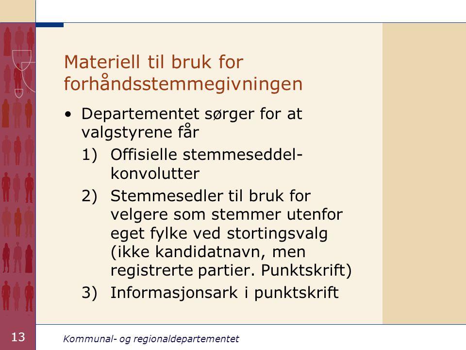 Materiell til bruk for forhåndsstemmegivningen
