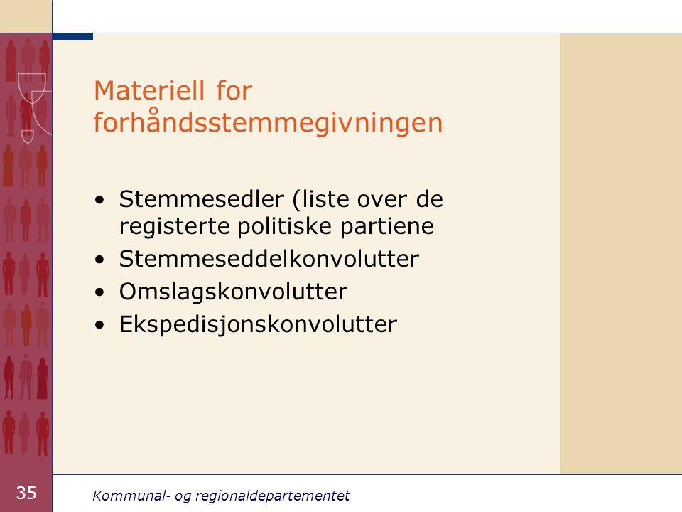 Materiell for forhåndsstemmegivningen