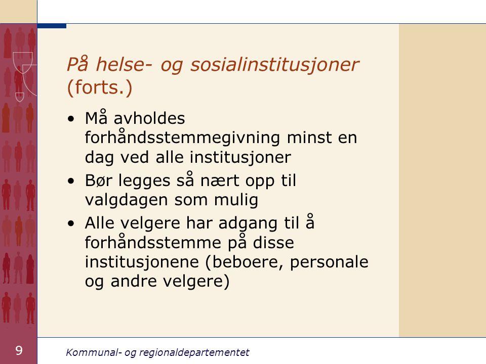 På helse- og sosialinstitusjoner (forts.)