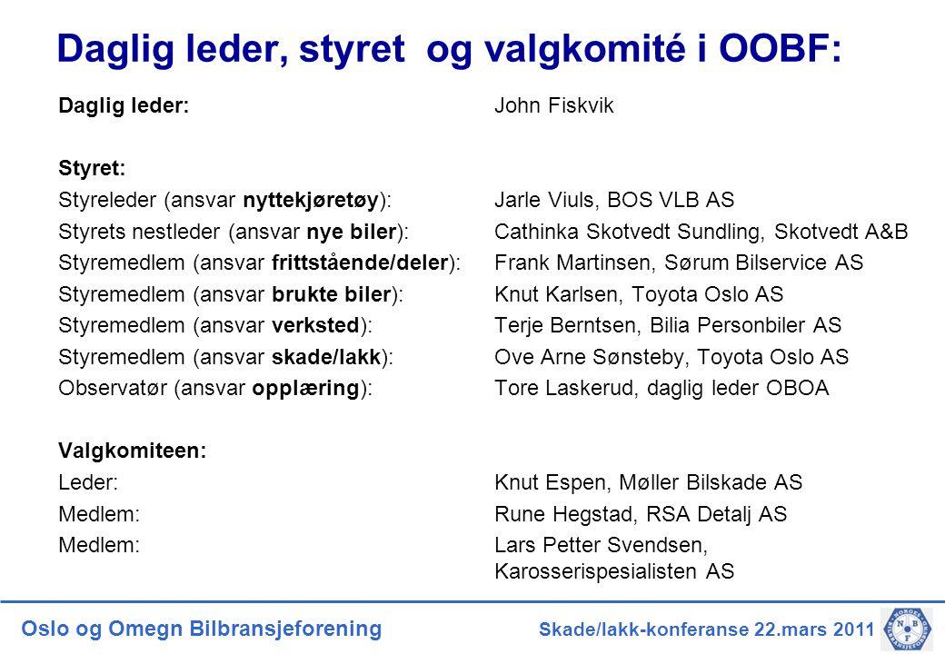 Daglig leder, styret og valgkomité i OOBF: