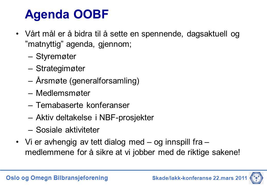 Agenda OOBF Vårt mål er å bidra til å sette en spennende, dagsaktuell og matnyttig agenda, gjennom;