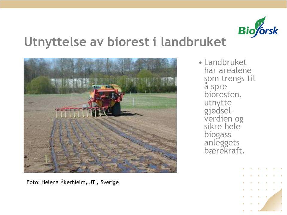 Utnyttelse av biorest i landbruket