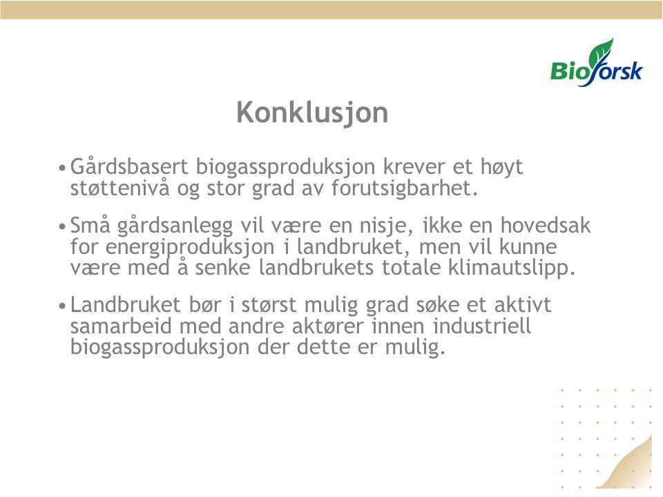 Konklusjon Gårdsbasert biogassproduksjon krever et høyt støttenivå og stor grad av forutsigbarhet.
