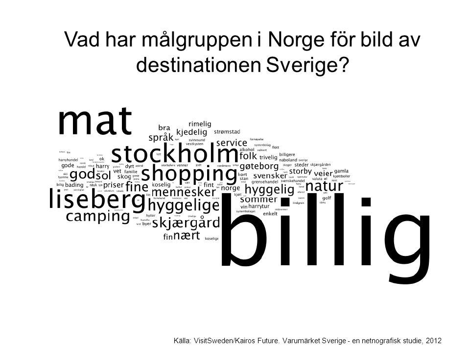 Vad har målgruppen i Norge för bild av destinationen Sverige