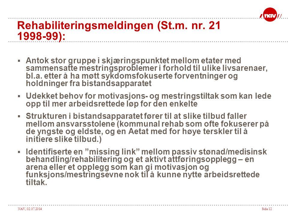 Rehabiliteringsmeldingen (St.m. nr. 21 1998-99):