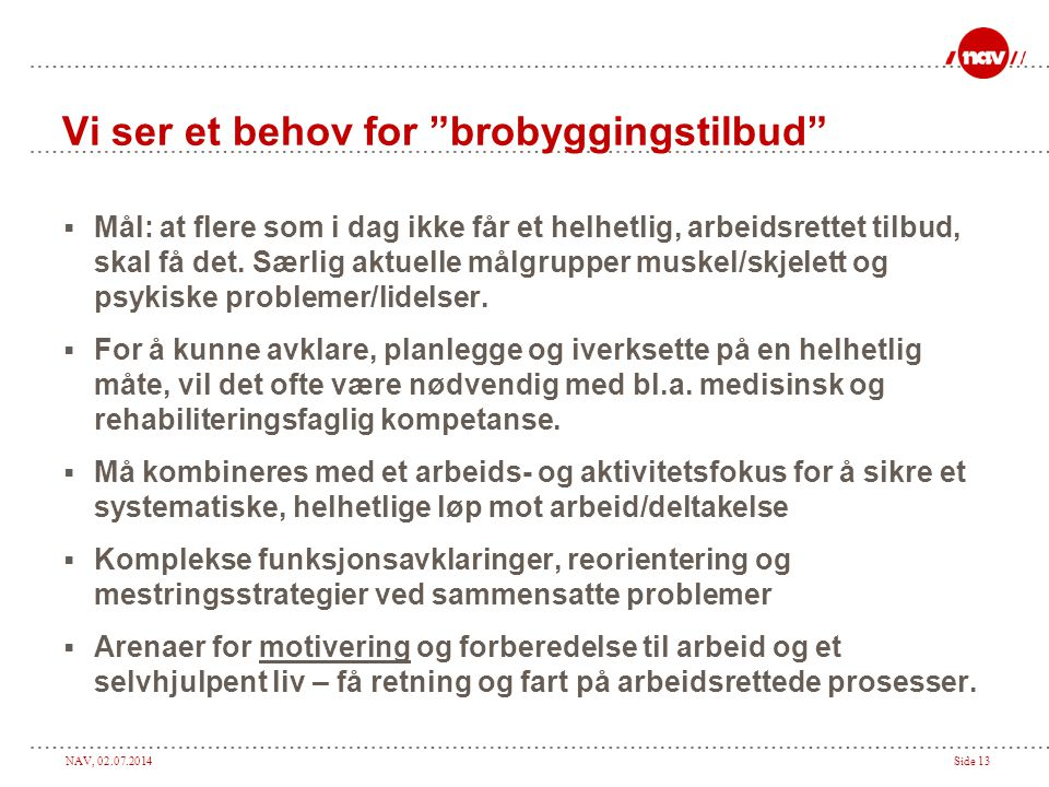 Vi ser et behov for brobyggingstilbud