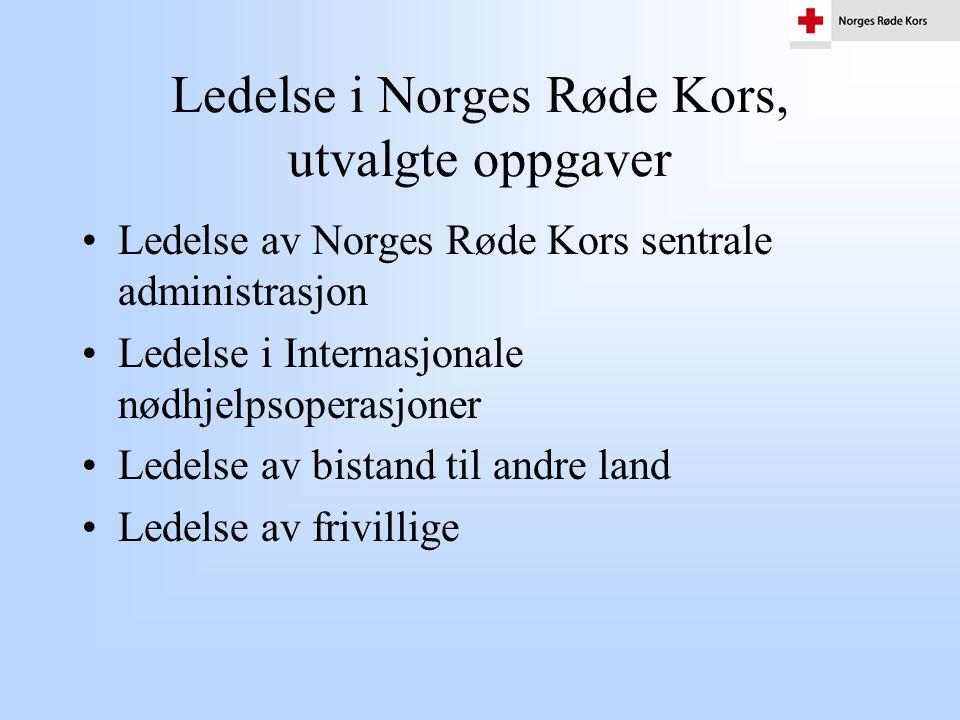 Ledelse i Norges Røde Kors, utvalgte oppgaver