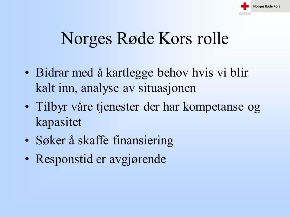 Norges Røde Kors rolle Bidrar med å kartlegge behov hvis vi blir kalt inn, analyse av situasjonen.