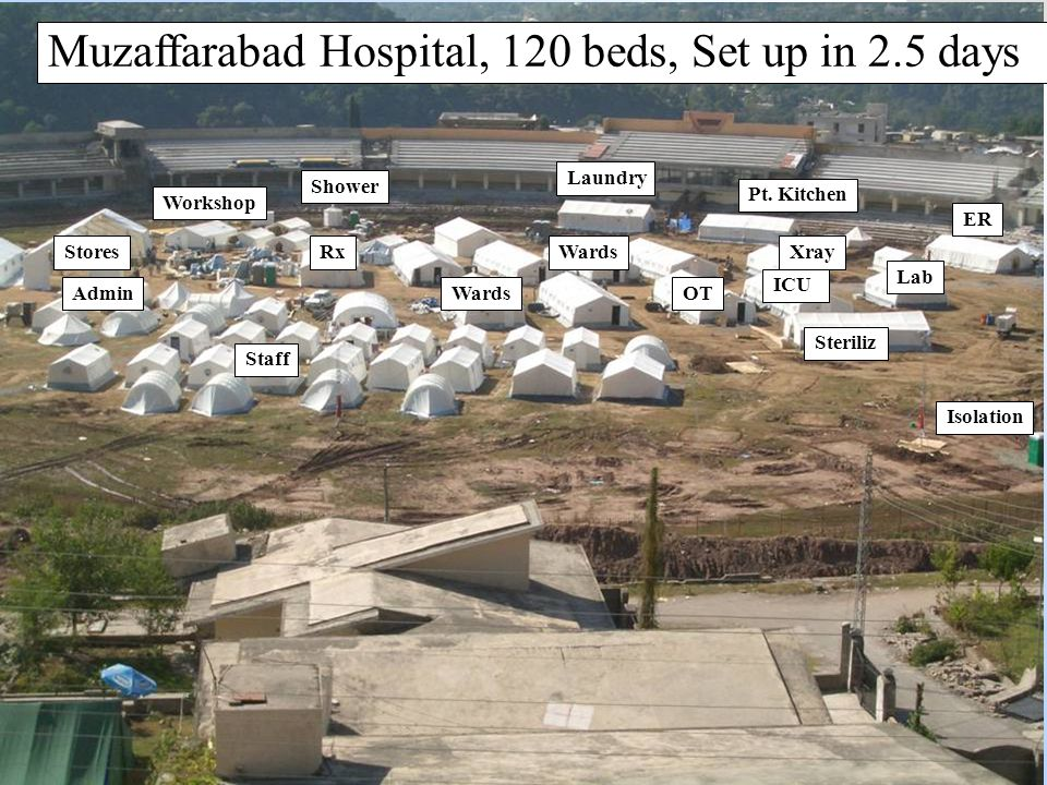 Muzaffarabad Hospital, 120 beds, Set up in 2.5 days