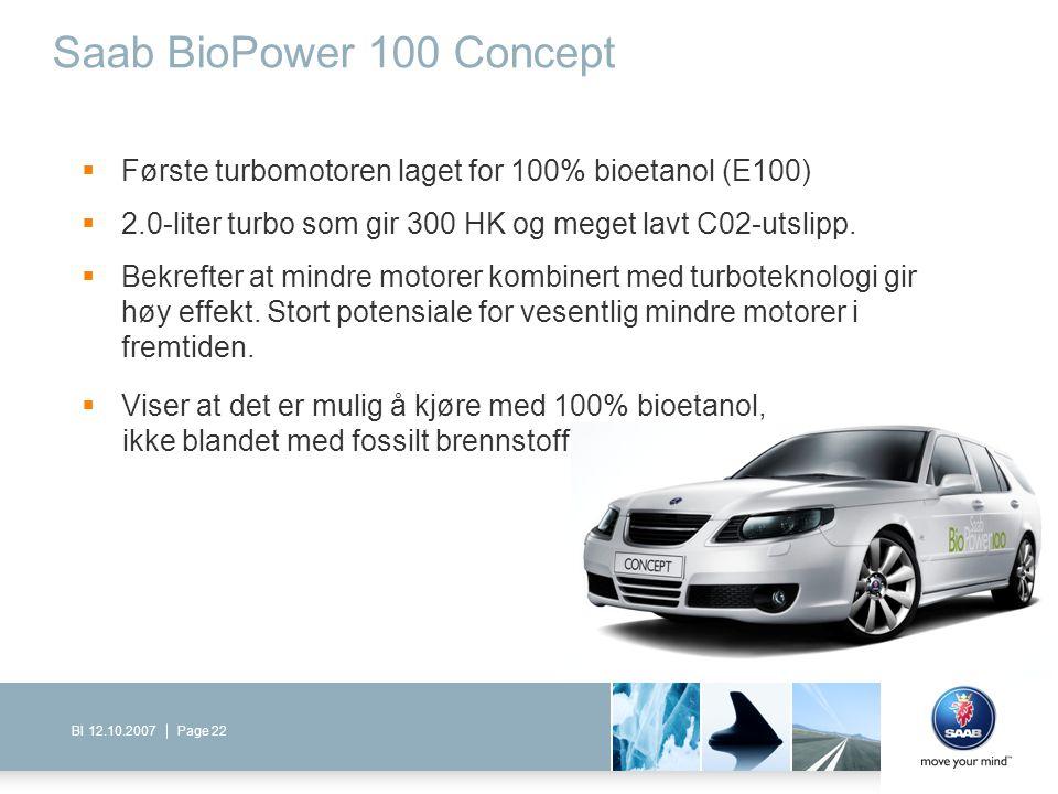 Saab BioPower 100 Concept Første turbomotoren laget for 100% bioetanol (E100) 2.0-liter turbo som gir 300 HK og meget lavt C02-utslipp.