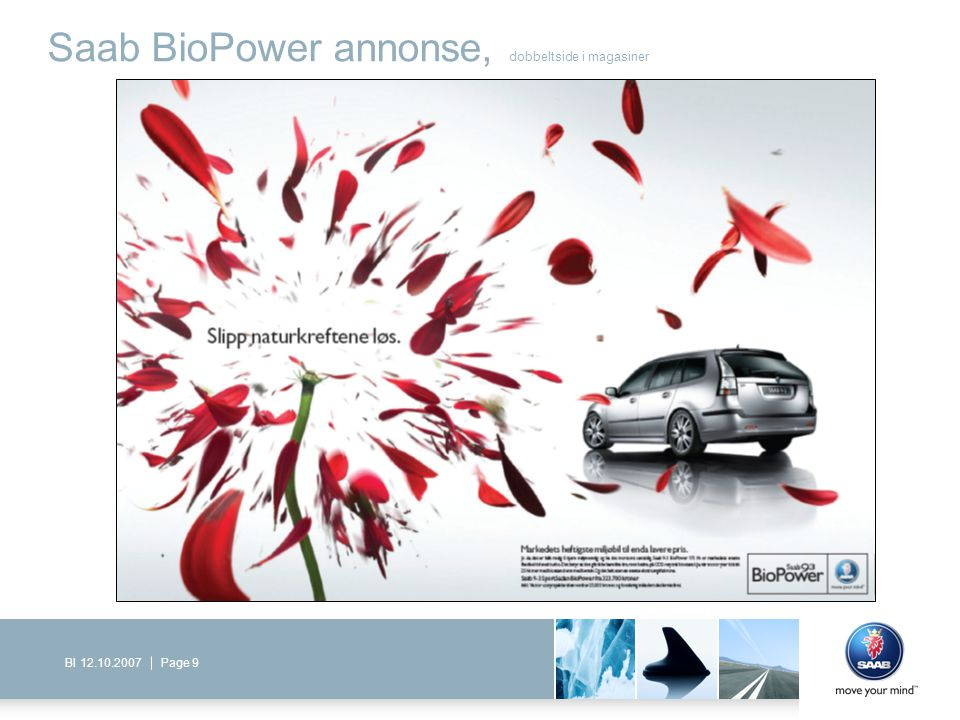 Saab BioPower annonse, dobbeltside i magasiner