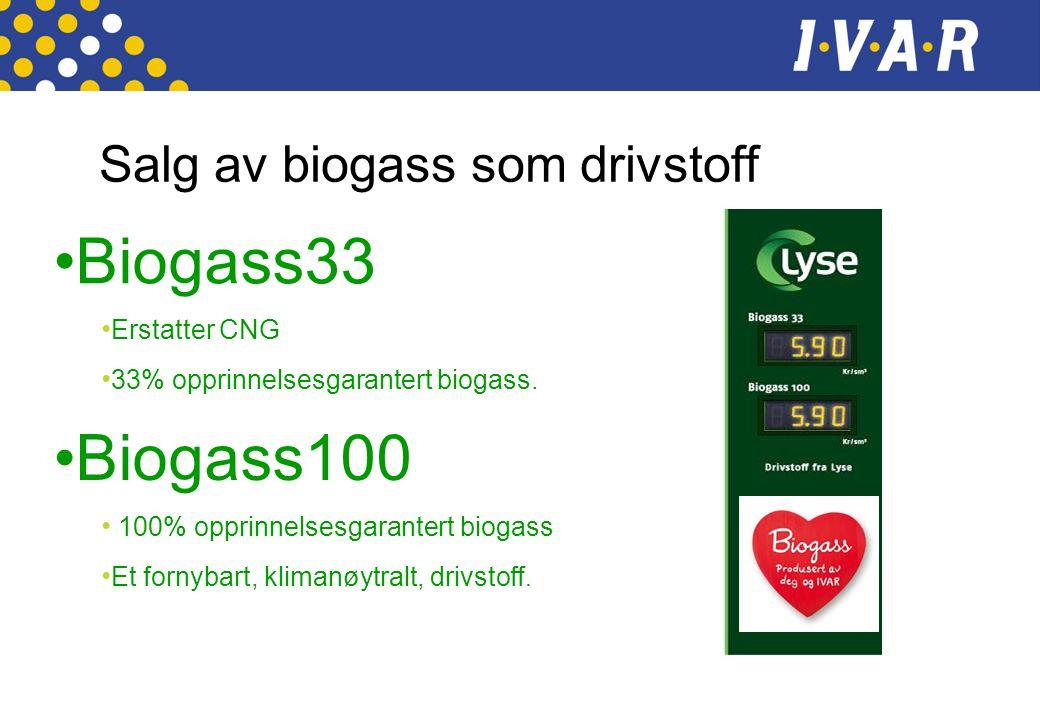 Biogass33 Biogass100 Salg av biogass som drivstoff Erstatter CNG