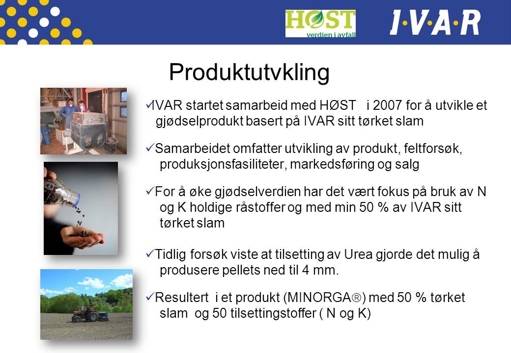 Produktutvkling IVAR startet samarbeid med HØST i 2007 for å utvikle et. gjødselprodukt basert på IVAR sitt tørket slam.