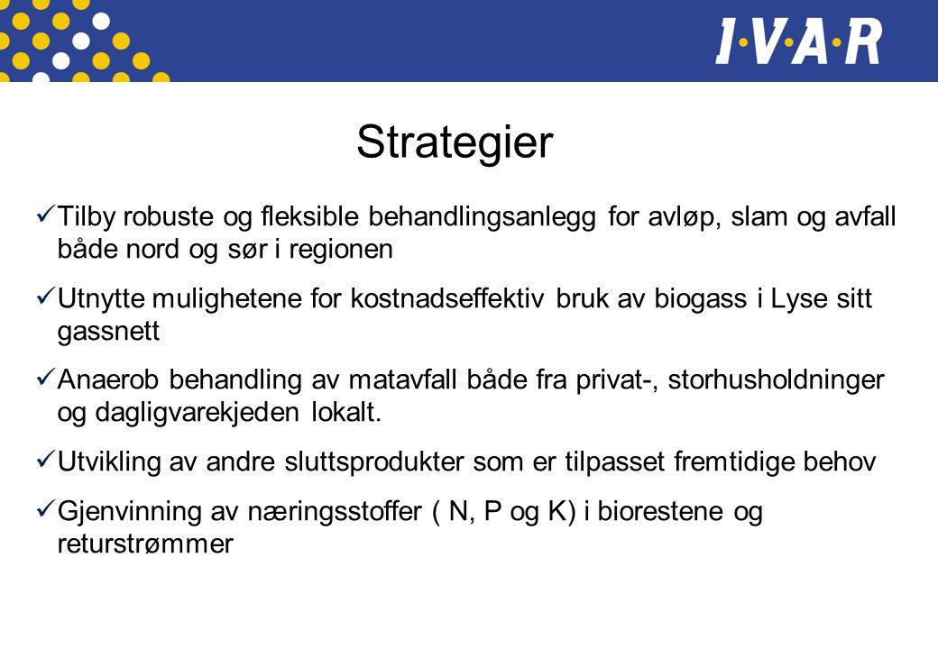 Strategier Tilby robuste og fleksible behandlingsanlegg for avløp, slam og avfall både nord og sør i regionen.