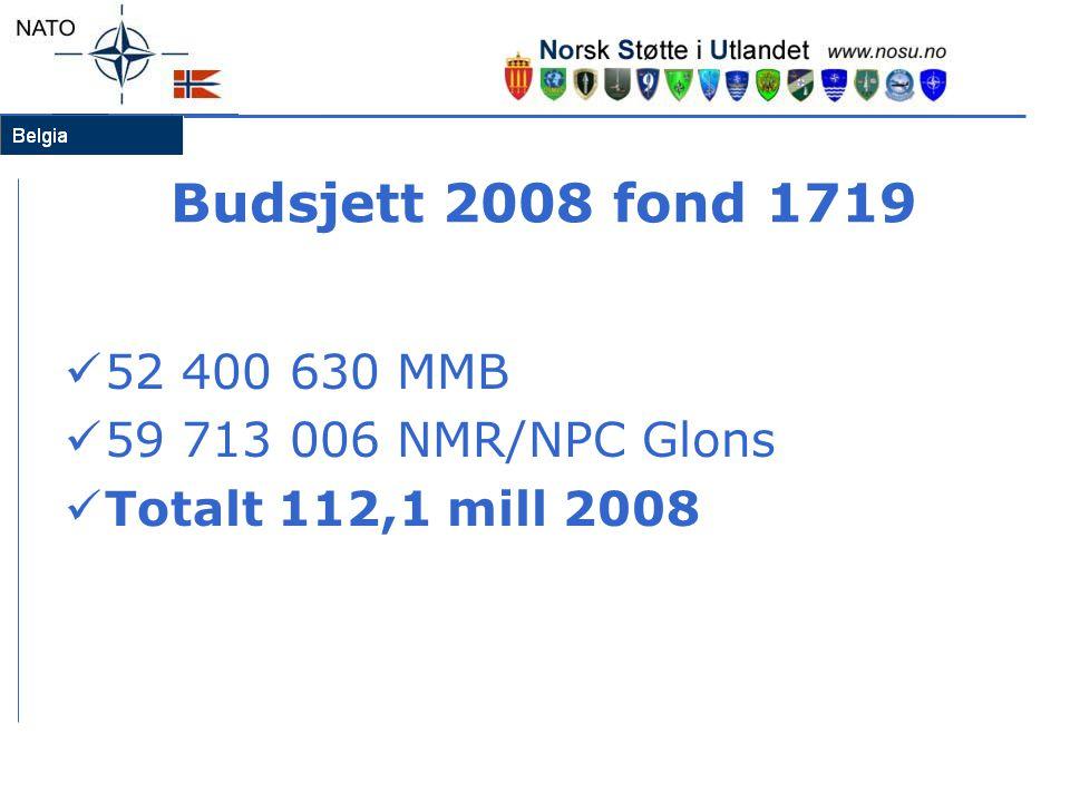 Budsjett 2008 fond 1719 52 400 630 MMB 59 713 006 NMR/NPC Glons