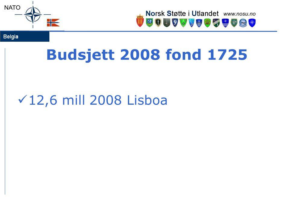 Budsjett 2008 fond 1725 12,6 mill 2008 Lisboa