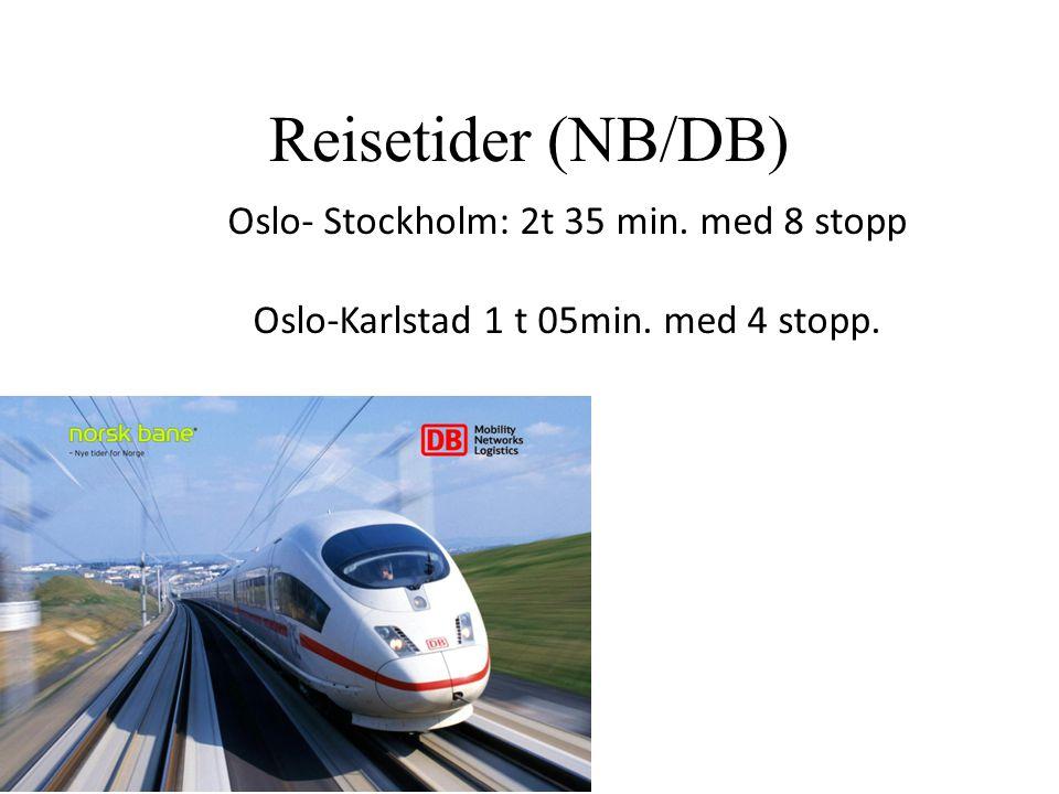 Reisetider (NB/DB) Oslo- Stockholm: 2t 35 min. med 8 stopp