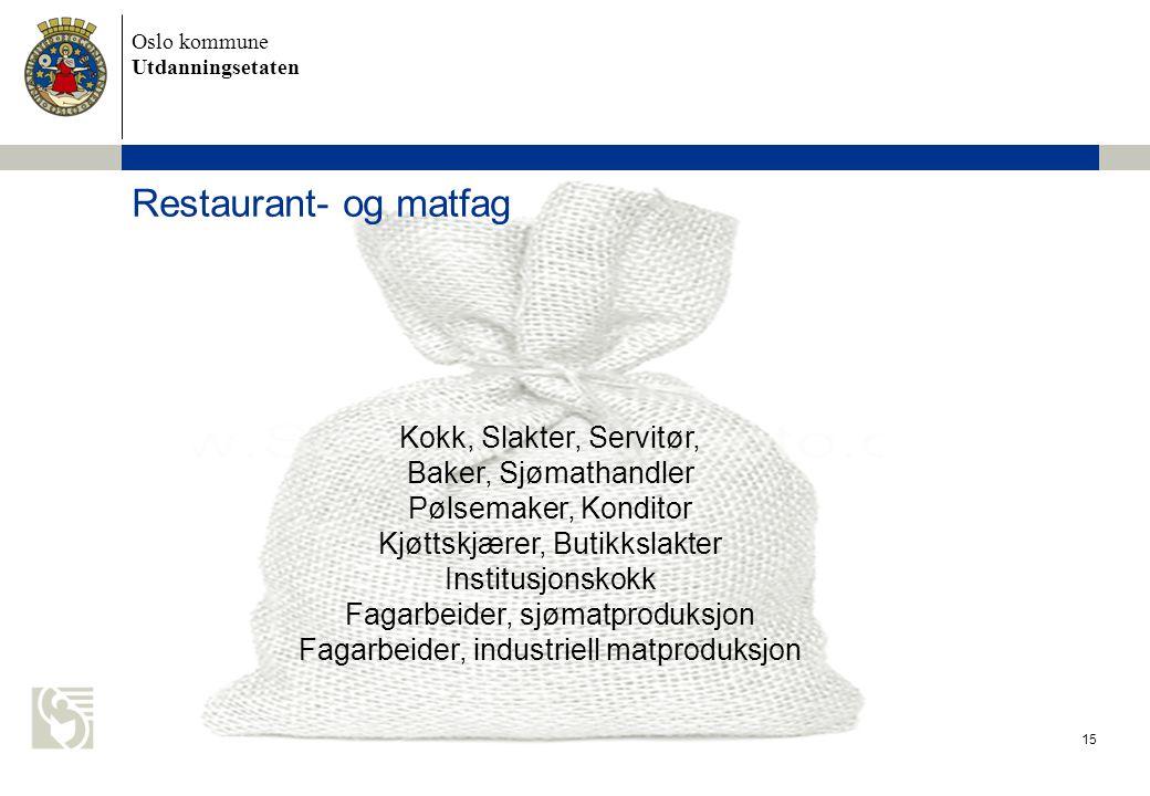 Restaurant- og matfag Kokk, Slakter, Servitør, Baker, Sjømathandler