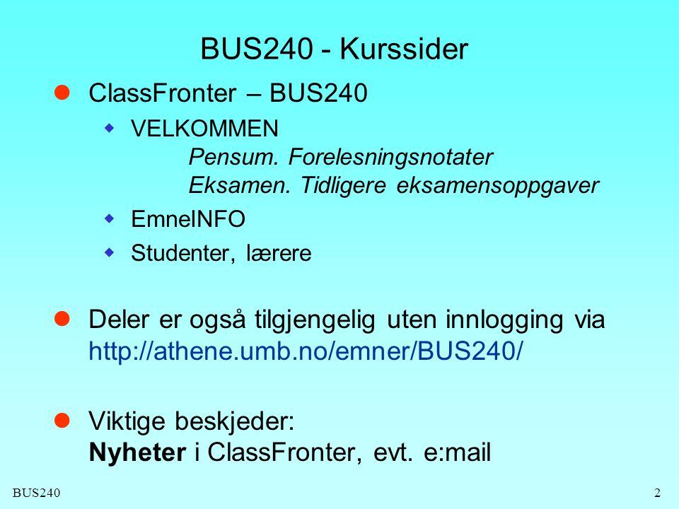 BUS240 - Kurssider ClassFronter – BUS240