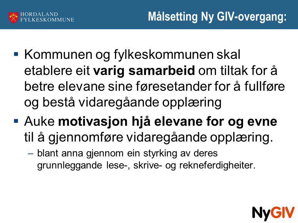 Målsetting Ny GIV-overgang: