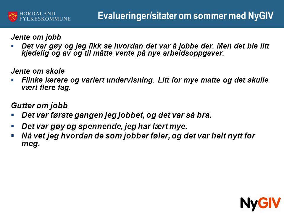 Evalueringer/sitater om sommer med NyGIV