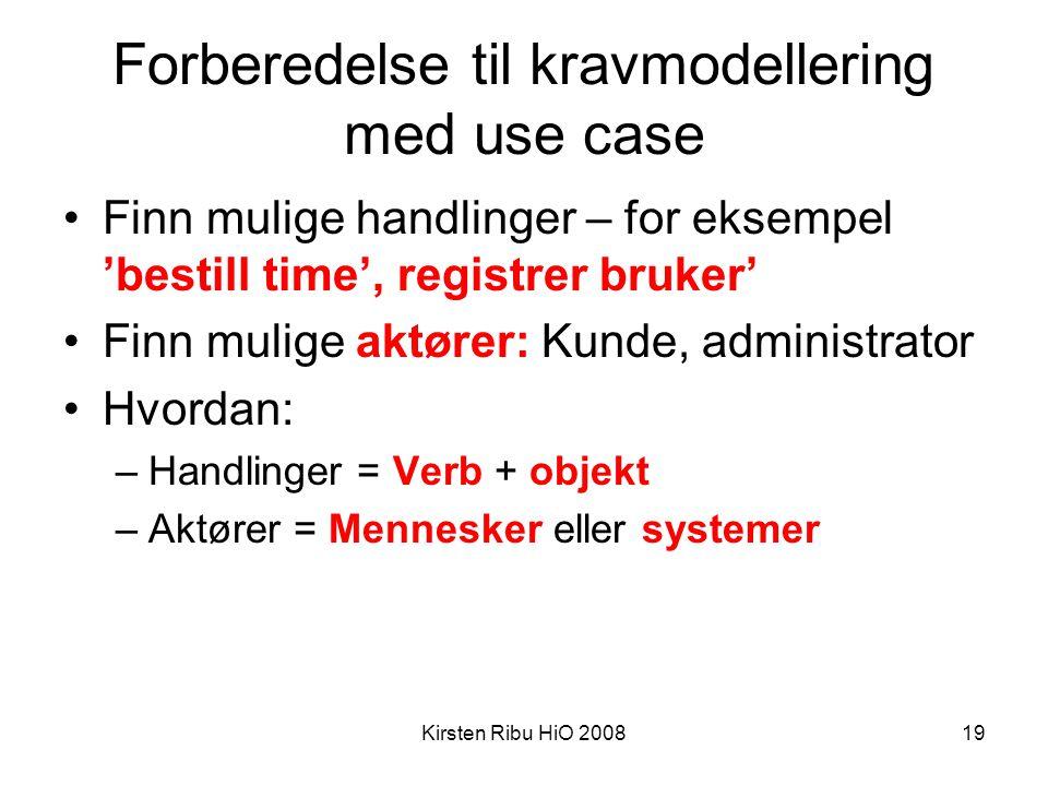 Forberedelse til kravmodellering med use case