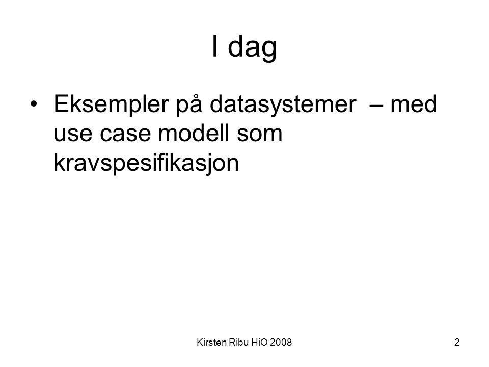 I dag Eksempler på datasystemer – med use case modell som kravspesifikasjon Kirsten Ribu HiO 2008